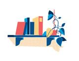 Mensola con libri e piantina - 182128155