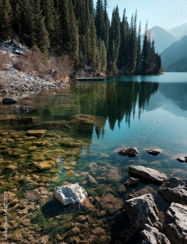 Poster Cappuccino lake Kulsai Kaindy Canyon Charyn Kazakhstan