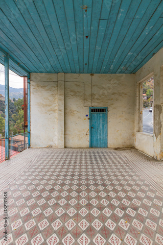 Foto op Canvas Cyprus View of abandoned house interior and tiles in Cyprus village