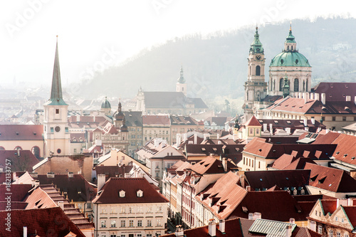 Tuinposter Praag Prague roofs, churchs and buildings panoramic view, Czech Republic