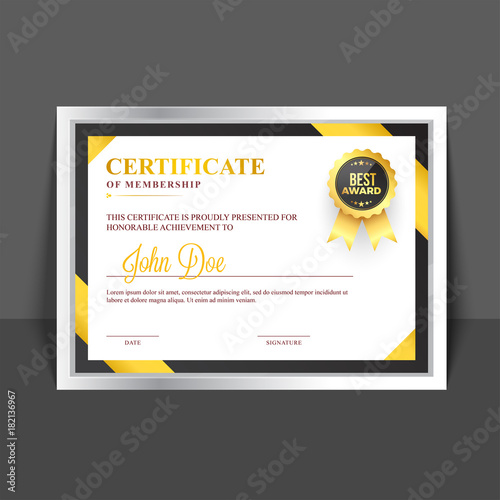 Certificate Of Membership Template With Yellow And Golden Abstract