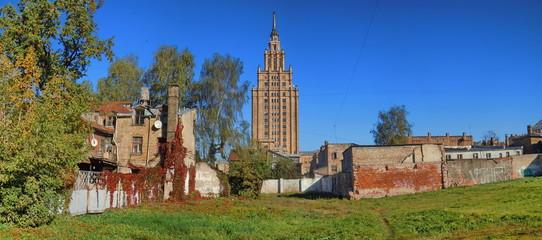 Panoramic cityscape with the skyscraper (Riga, Latvia)