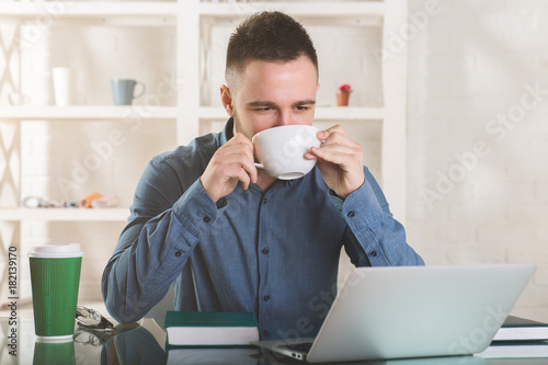 Caucasian businessman working on project