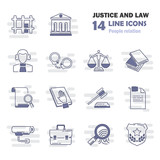 Set of simple universal line justice and law flat icons for web and mobile design - 182141706