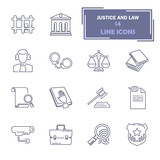 Set of simple universal line justice and law flat icons for web and mobile design - 182141707