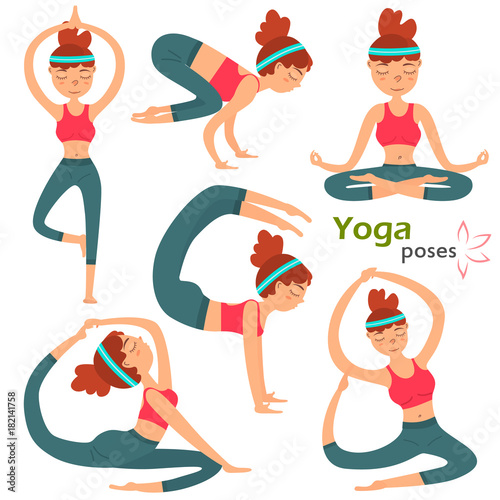 Naklejka Yuong cute girl in different yoga pose color illustration set isolated on white