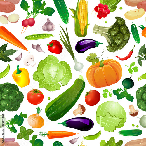 Fototapeta colorful seamless texture with fresh vegetables for your design