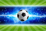 Fototapeta Sport - Soccer ball, powerful bright blue lightning, green soccer fields © Ig0rZh