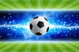 Soccer ball, powerful bright blue lightning, green soccer fields - 182146325