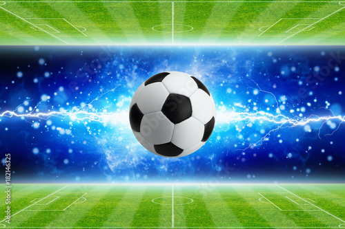 Soccer ball, powerful bright blue lightning, green soccer fields Poster