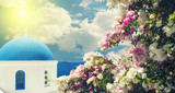 Blue domed church in Oia, Santorini with bougainvillea flowers on th foreground - 182146510