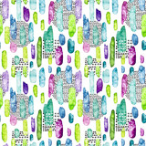 Colorful Seamless Pattern of Watercolor Brushstrokes and Black Dots - 182149377