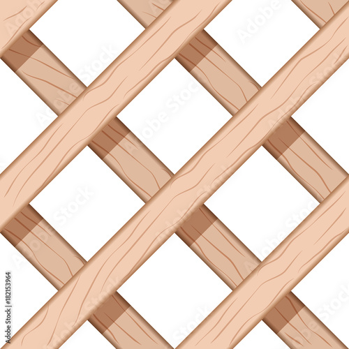 Wooden Window Fence Grids. Seamless Vector Illustration Of Lattice Wooden Window Fence Pattern.