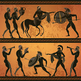Ancient Greece scene banner. Black figure pottery. Ancient Greek mythology. Centaur, people, gods of an Olympus. Classical Ancient Greek style - 182154111
