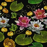 Classical embroidery pink and white lotuses and water lilies, template fashionable seamless pattern clothes, t-shirt design vector. Water lily embroidery seamless pattern - 182154128