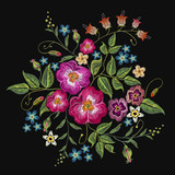Embroidery wild roses, dogrose flowers vector art. Classic style embroidery, beautiful fashion template for clothes, t-shirt design - 182154167