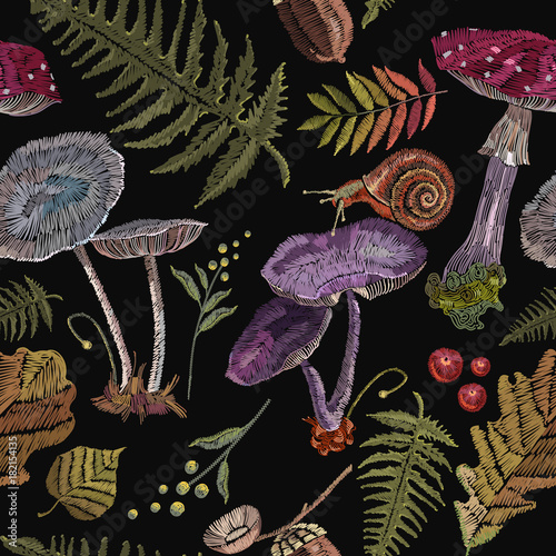 Embroidery mushrooms, berries, snails, autumn leaves, seamless pattern. Fashion nature template for clothes, textiles, t-shirt design - 182154135