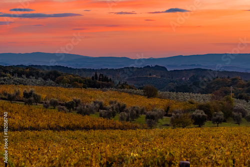Poster Oranje eclat sunset over the chianti hills in autumn in province of Siena Tuscany Italy...