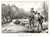 A man and a boy fishing a salmon with an ancient fishing pole in a river surrounded by a beautiful natural landscape. Old illustration by Currier & Ives, publ. in New York, 1872 - 182160397