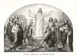Jesus Christ appearing to his disciples in a strong light and preaching his Love Great Commandment. Old illustration by Currier & Ives, publ. in New York, 1849 - 182160522