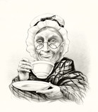 Humorous portrait of a elderly woman drinking tea and doing a little smile. Old illustration by unidentified author, publ. in New York, 1881 - 182160766