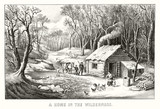 Woden house in a wild forest with family, poultry and horse. Provisions for winter season, bare trees. Old illustration by Currier & Ives, publ. in New York, 1870