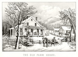 Antique illustration of an old farm house in winter. Mountains on background. Old illustration by Currier & Ives, publ. in New York, 1872 - 182161356