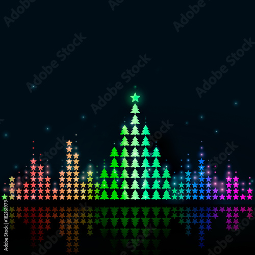 Fotobehang Muziek Graphic music equalizer which forms a Christmas tree