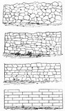 Four typologies of stone wall arranged vertically in a minimal outline style. Old Illustration by unidentified author published on Magasin Pittoresque Paris 1834 - 182162910