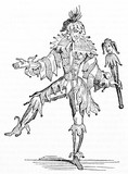 Ancient Jester posing on one leg wearing his costume and holding a scepter. Old Illustration by unidentified author published on Magasin Pittoresque Paris 1834 - 182164950