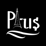 White lettering Paris on black background