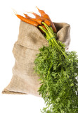 a sack with carrot isolated on a white - 182166725