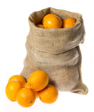 one sack with oranges isolated on a white background - 182167151