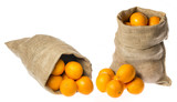 one sack with oranges isolated on a white background - 182167364