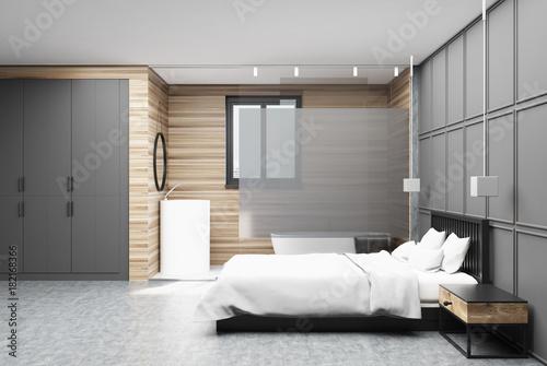 Plagát Gray and wooden bedroom side, bathroom