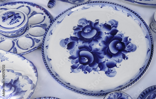Festive dish with blue pattern