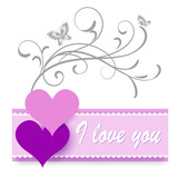 festive greeting card congratulation love hearts patterns white background simply elegantly inscription I love you