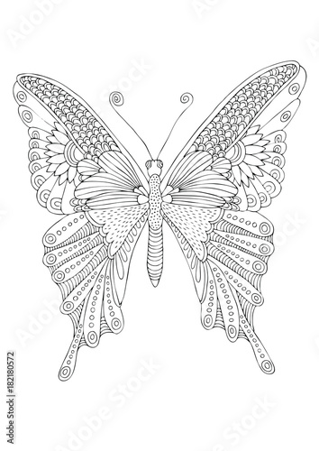 Isolated fantasy decorative butterfly. Hand drawn picture. Sketch for anti-stress adult coloring book in zen-tangle style. Vector illustration for coloring page.