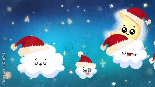 Cielo de noche infantil en navidad