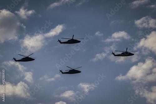 Escuadrilla de helicópteros Poster