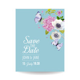 Save the Date Card Wedding Invitation Template. Botanical Card with Hydrangea Flowers and Butterflies. Greeting Floral Postcard. Vector illustration