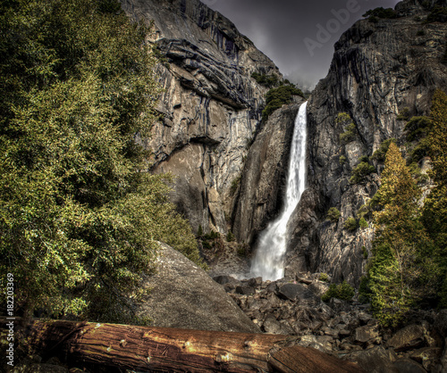 Yosemite waterfall on overcast day during winter of drought