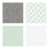 set of vector seamless floral and leaf patterns, abstract background illustrations - 182214148