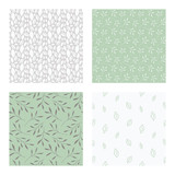 set of vector seamless floral and leaf patterns, abstract background illustrations - 182214165