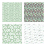 set of vector seamless floral and leaf patterns, abstract background illustrations - 182214199