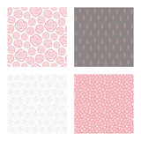 set of vector seamless floral and leaf patterns, abstract background illustrations - 182214335