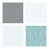 set of vector seamless floral and leaf patterns, abstract background illustrations - 182214513