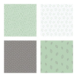 set of vector seamless floral and leaf patterns, abstract background illustrations - 182214588
