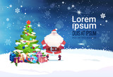 Holiday Banner With Copy Space Santa Claus Standing At Christmas Tree Decoration Design Flat Vector Illustration