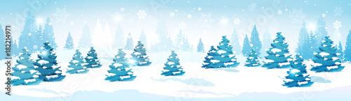 Winter Forest Landscape Snowy Pine Trees Horizontal Banner Flat Vector Illustration